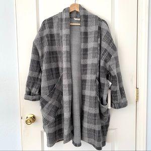 Caslon Gray Oversized Plaid Coat Cardigan